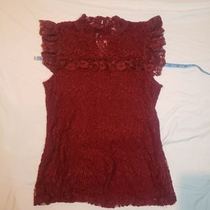 Cupio lace with floral design sheer chest mockneck